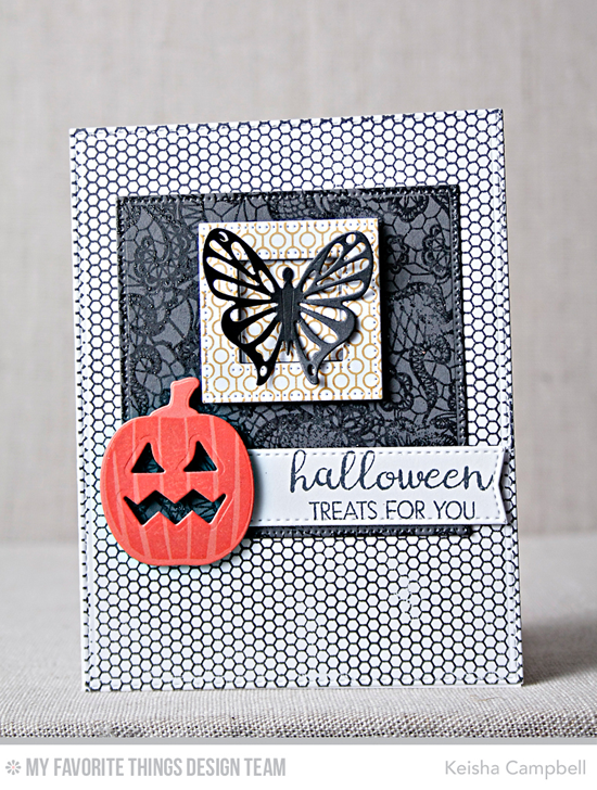 Handmade card from Keisha Campbell featuring Lisa Johnson Designs Spooky Sweets stamp set and Die-namics, Lined Up Dots Background, Mini Hexagon Background, and Lace Background stamps, Flutter of Butterflies Lace, Pierced Square Frames, Pierced Square STAX, and Blueprints 20 Die-namicsl #mftstamps