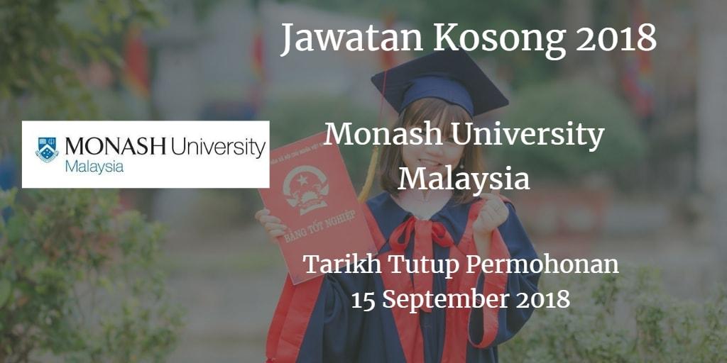 Jawatan Kosong Monash University Malaysia 15 September 2018