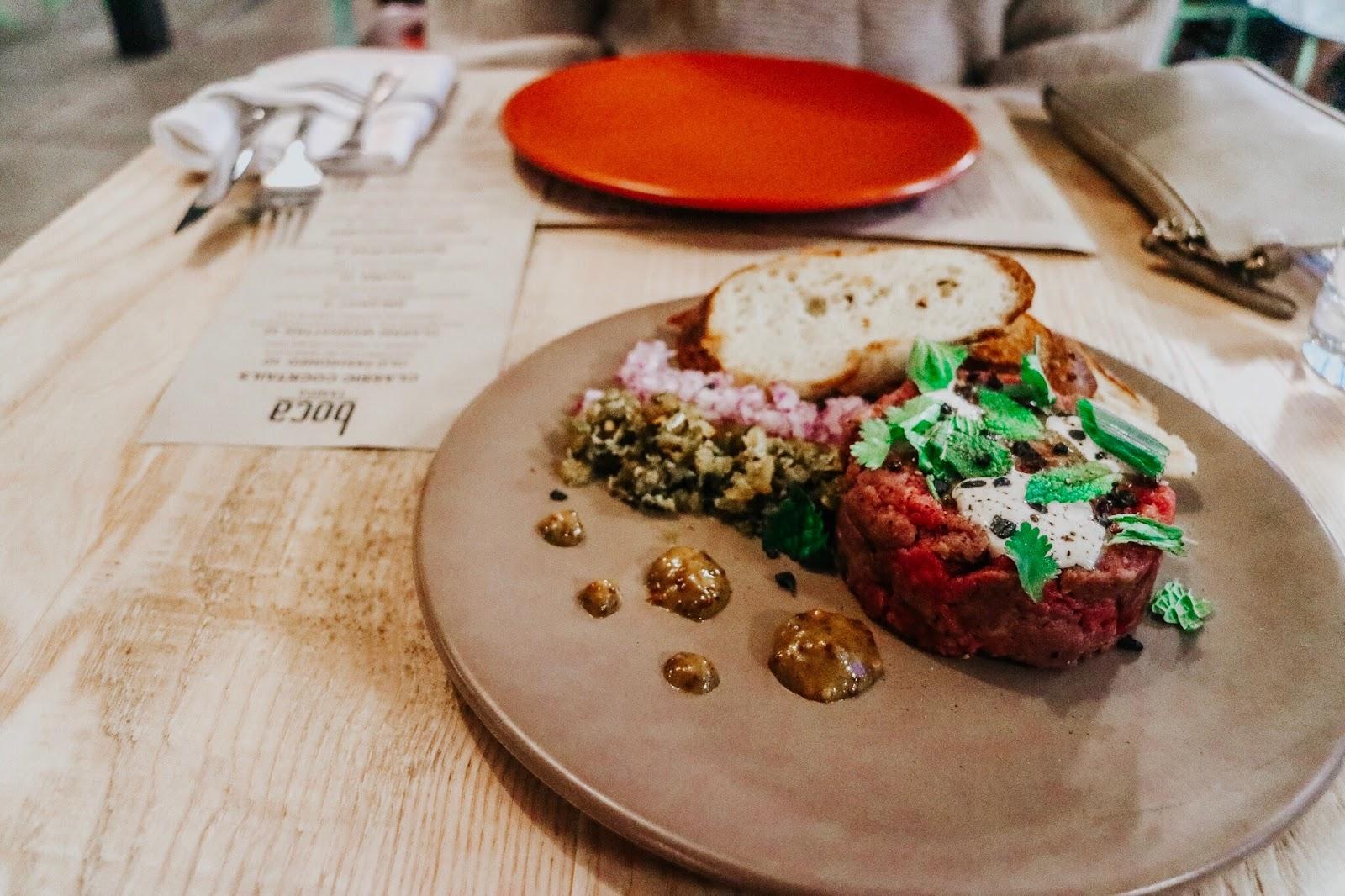 Chopped beef tartar at Boca in Tampa Florida