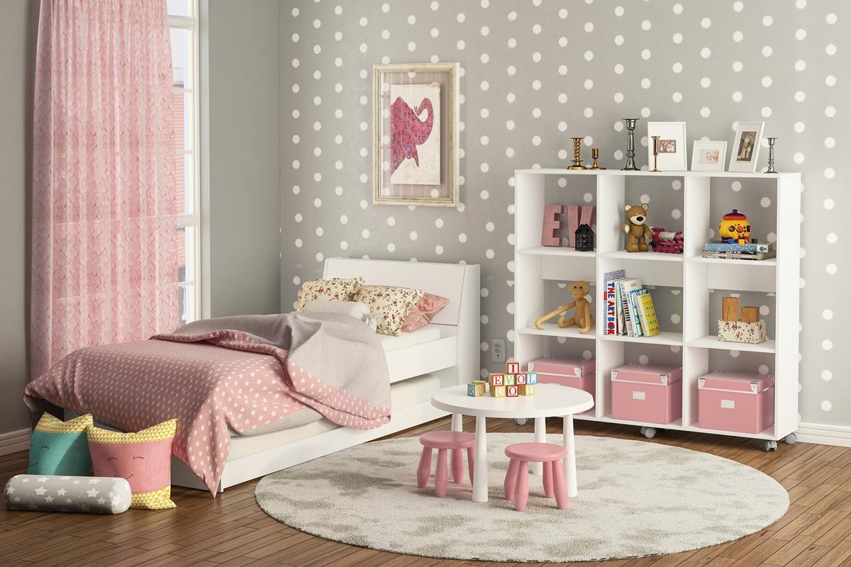 quarto para menina cinza e rosa