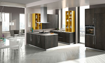 U kitchen concept for a small space filled with storage locations