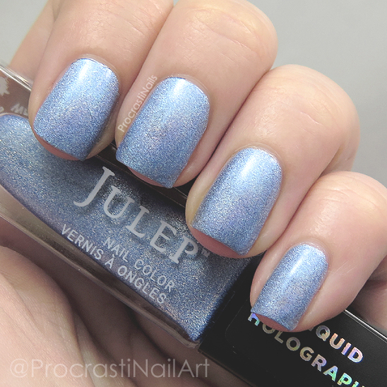 Swatch of the blue holographic polish Julep Tali