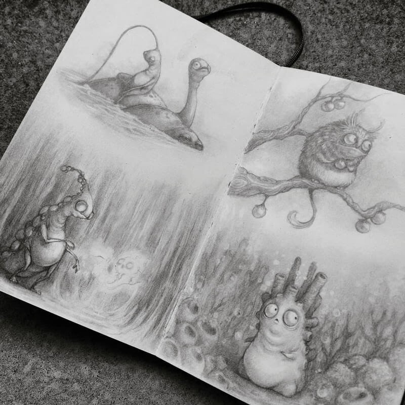 01-Stella-Bialek-Moleskine-Fantasy-Creatures-Drawings-www-designstack-co