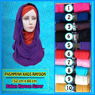 Jilbab pashmina murah bahan koas rayon polos