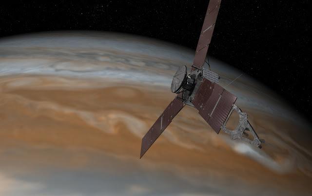 Foto: Concepção artística da sonda Juno passando por Júpiter (NASA/JPL-Caltech)
