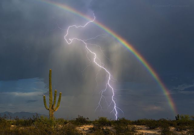 Rainbow and Lightning over Arizona