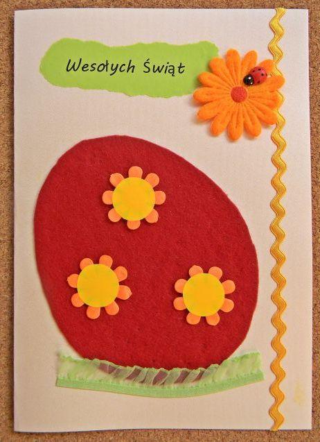 filc, kwiaty, biedronka, kartka