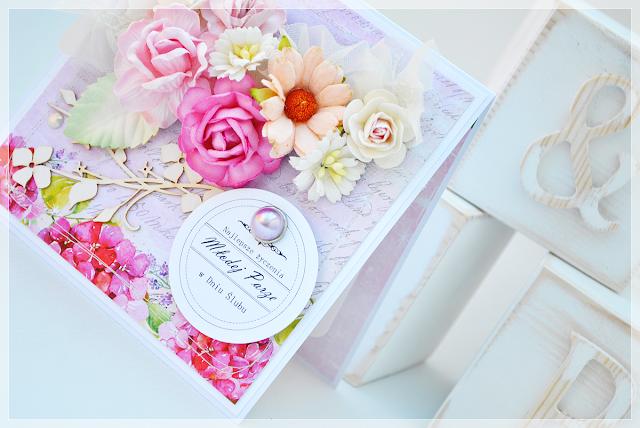Ślubna, kwiatowa kartka