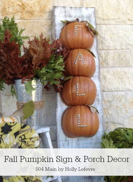 Fall porch decor with a pumpkin sign