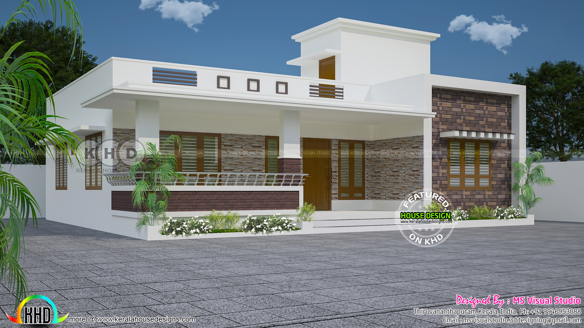 3 Bedroom Flat Roof Modern One Floor Kerala Home