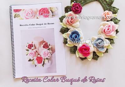 Colares de Crochê com Flores, receita colar buquê de rosas