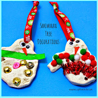 Salt dough snowman ornament -  easy salt dough recipe and salt dough craft ideas for kids