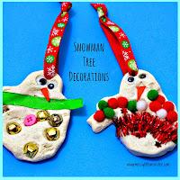 Salt dough snowman ornament - salt dough craft ideas for kids