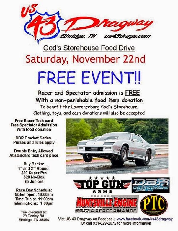 God's Storehouse Food Drive & Free Race at U.S. 43 Dragway