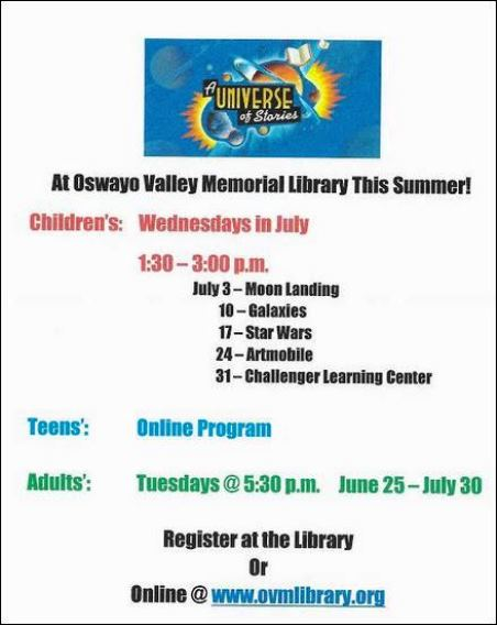 7-17 Oswayo Valley Library Reading Program