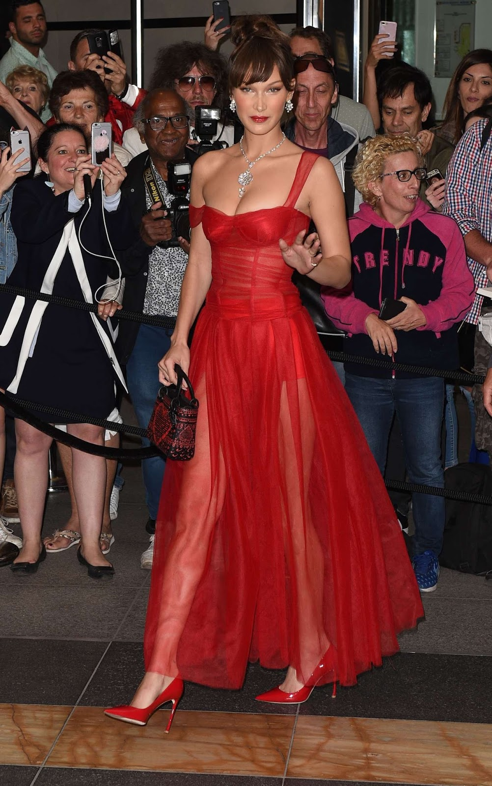 Bella Hadid Arriving for the Dior Dinner in Cannes