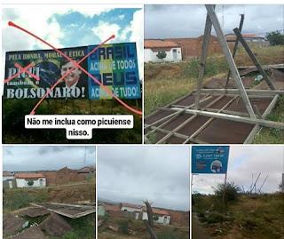 Outdoor de Bolsonaro vai ao chão em Picuí
