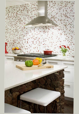Mid Century Modern Kitchen Chairs White Color With Dot Motive in the Wall Best Photo