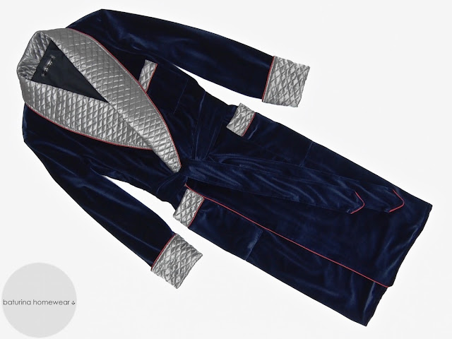 Mens navy blue velvet robe dressing gown quilted smoking jacket