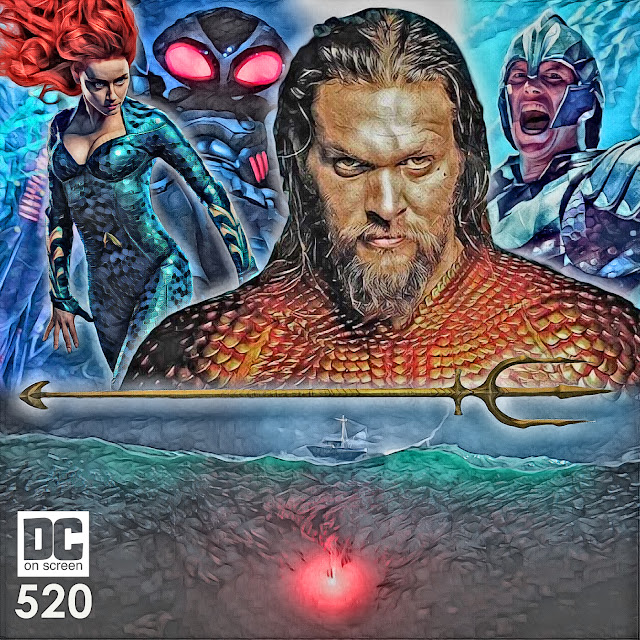'Aquaman' show art featuring Aquaman, Orm, Black Manta, and Mera imposed over the flare chase from the Trench