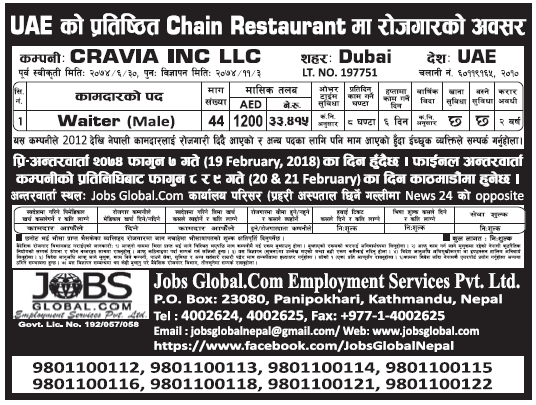 Jobs in Dubai for Nepali, Salary Rs 33,415
