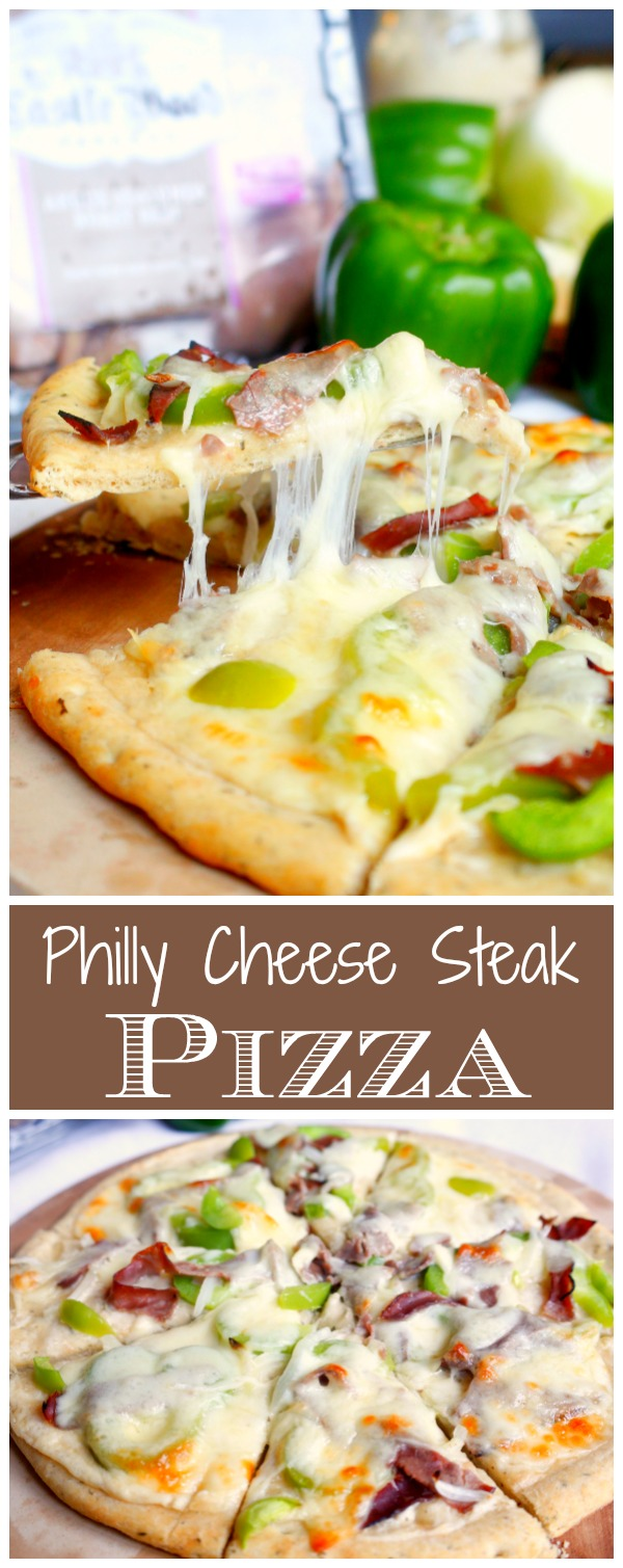 This Philly Cheese Steak Pizza is a quick and easy recipe that makes recommitting to homemade meals a cinch! #AD #BeyondTheSandwich