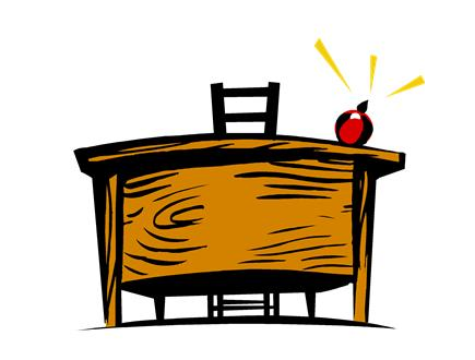 Teachder's desk with apple