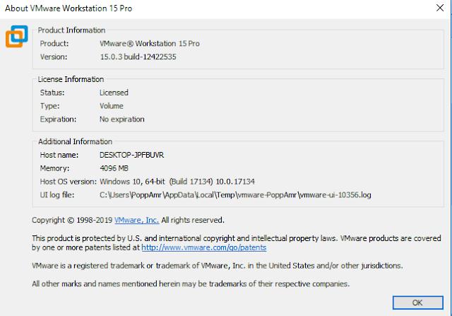 VMware Workstation Pro 15.0.3+ serial