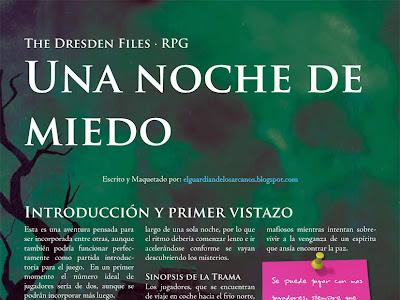 Una noche de miedo - Aventura para The Dresden Files en libre descarga