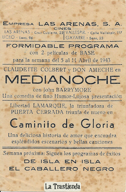 Programa de Cine - Medianoche - Claudette Colbert - Don Ameche