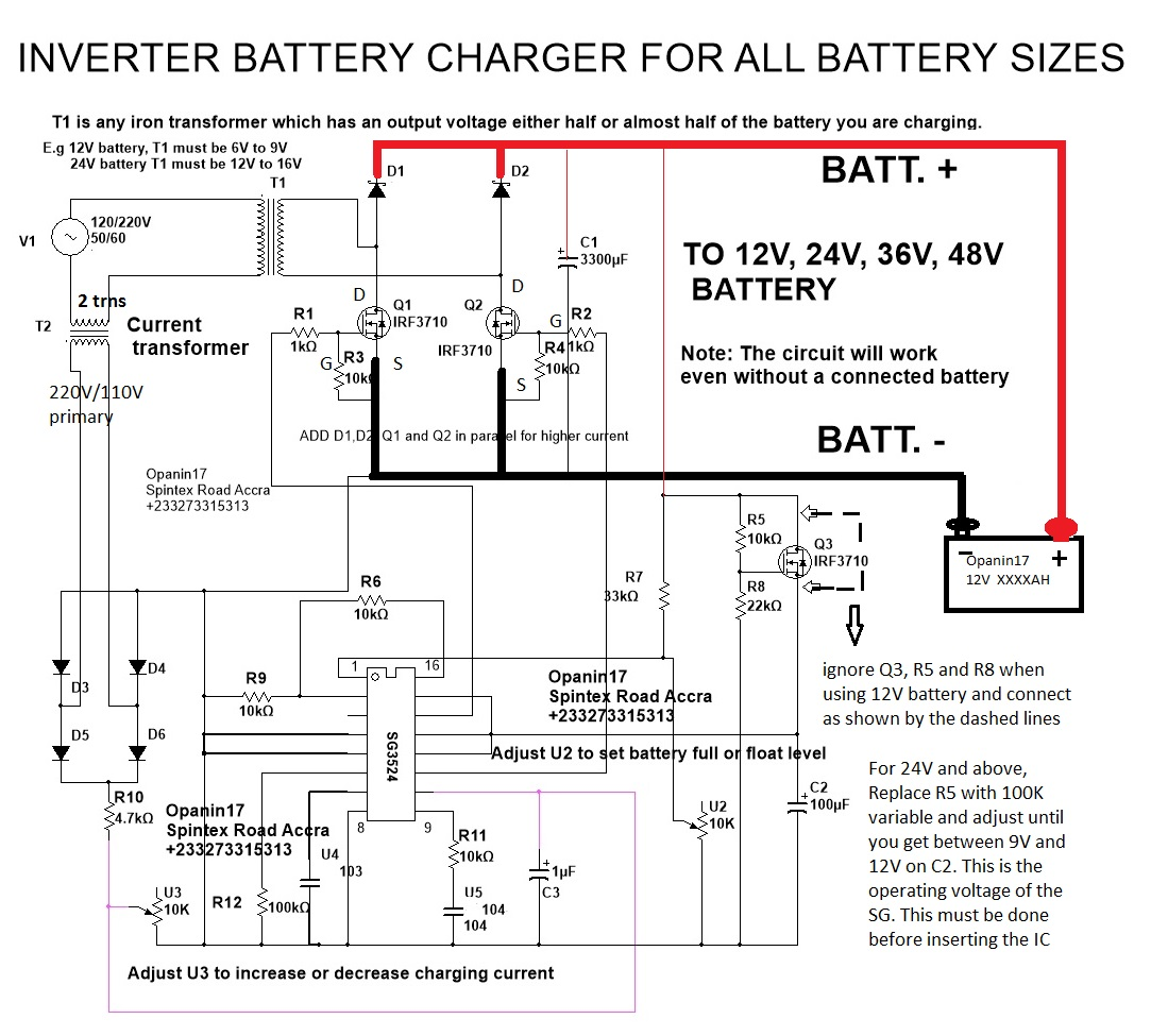 inverter battery charger circuit many circuits rh manycircuits blogspot com 24 Volt Battery Wiring Wiring Two Batteries for RV