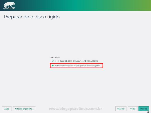 """Selecione o """"Particionamento personalizado (para usuários avançados)"""""""