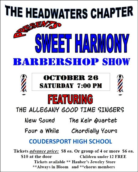 10-26 Barbershop Show, Coudersport High School
