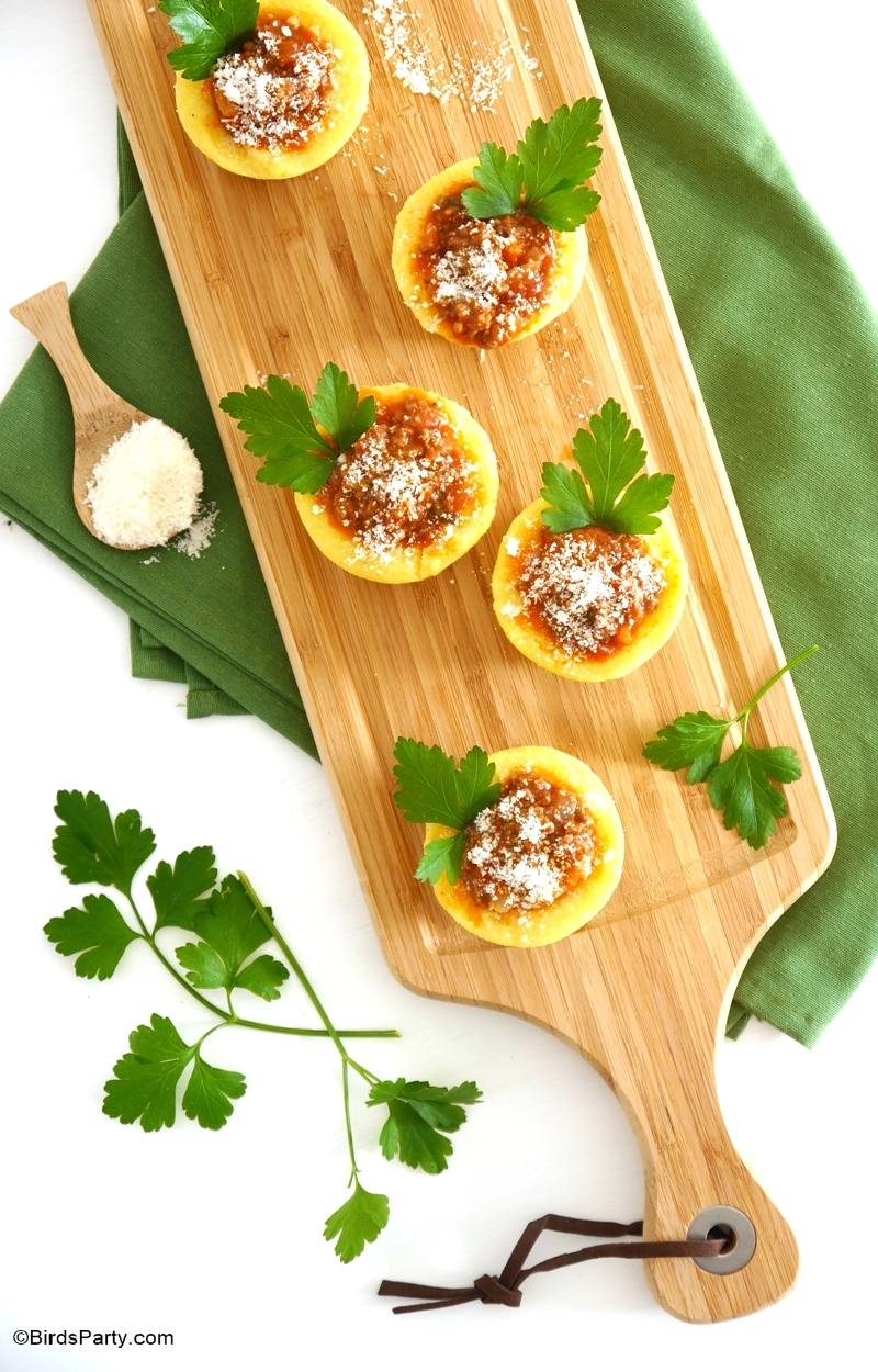 Party Food | Gourmet Polenta Bologenese Cups Appetizer Recipe - BirdsParty.com