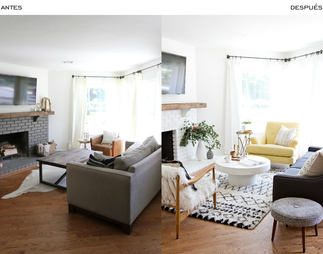 Antes y después de un salón rústico - moderno