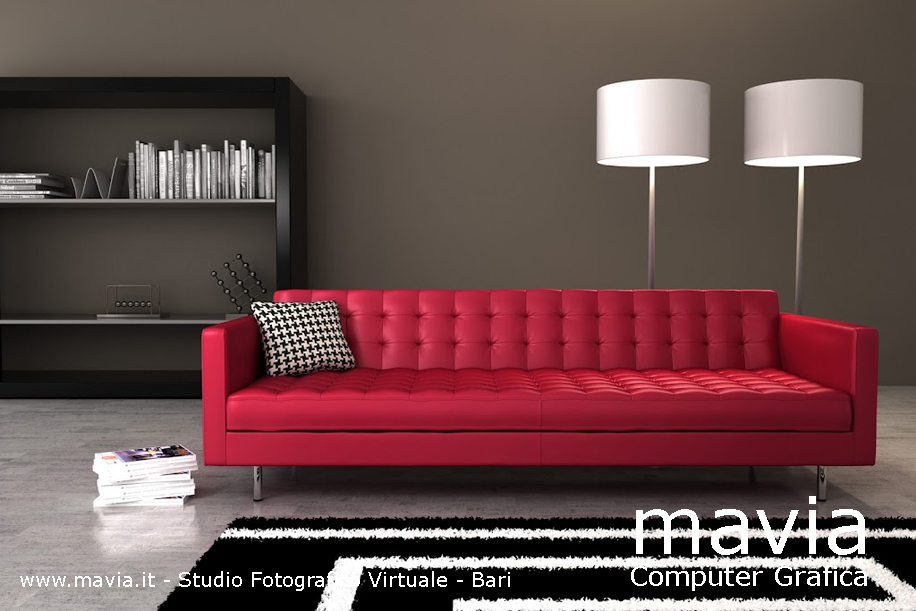 Divani Rossi Moderni.Arredamento Di Interni Modello 3d Divano Di Colore Rosso In