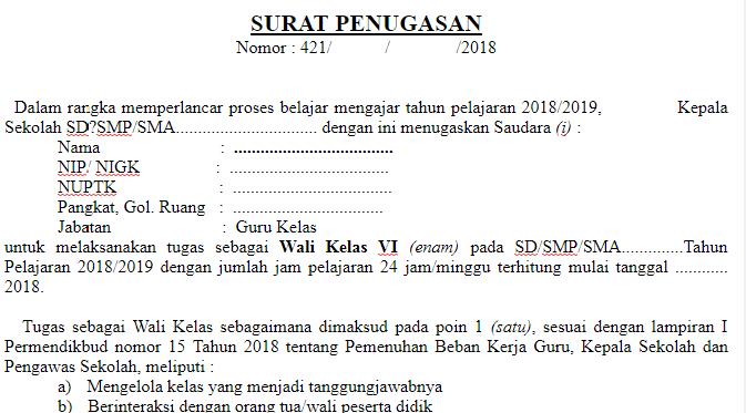 Contoh Surat Penugasan Wali Kelas Surat Pedia