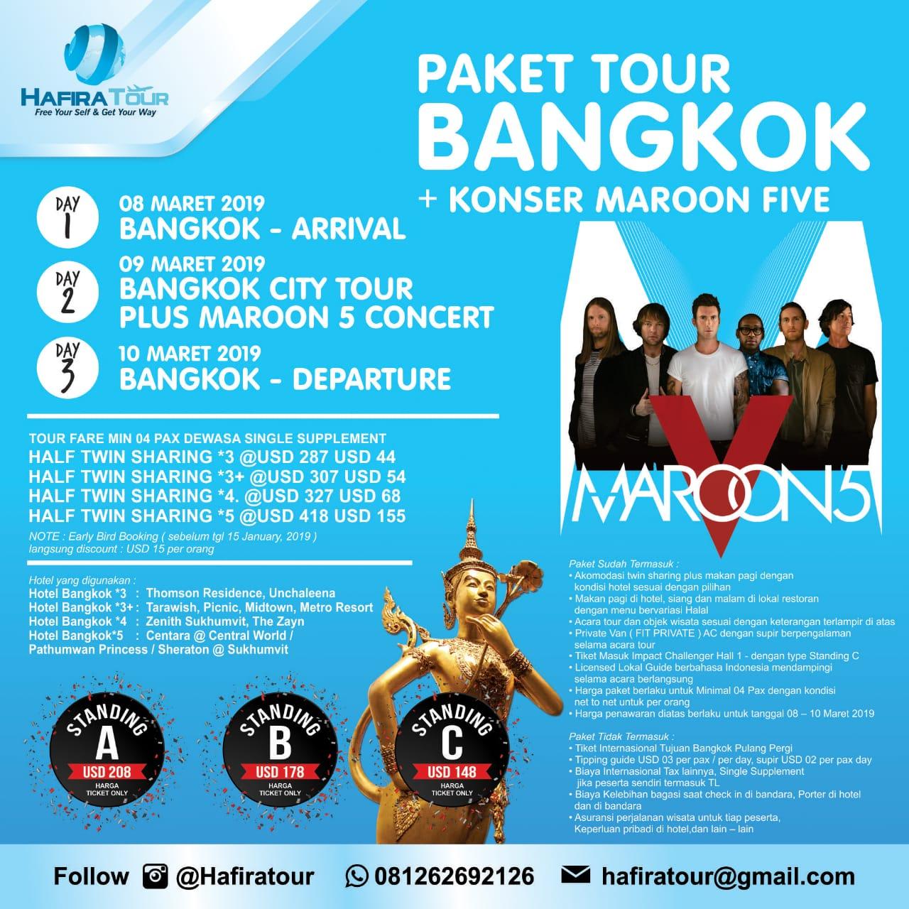 PAKET TOUR BANGKOK + KONSER MAROON FIVE - Guide Bahasa