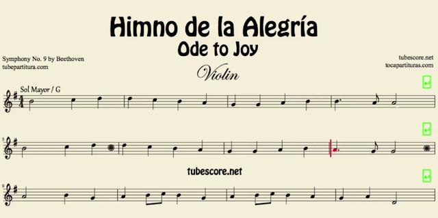 10 Partituras Populares Tradicionales 9º Partituras del Himno de la Alegría de Beethoven Sheet Music