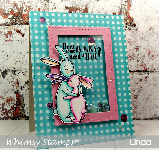Whimsy Stamps - Hugs Bunny Shaker Card