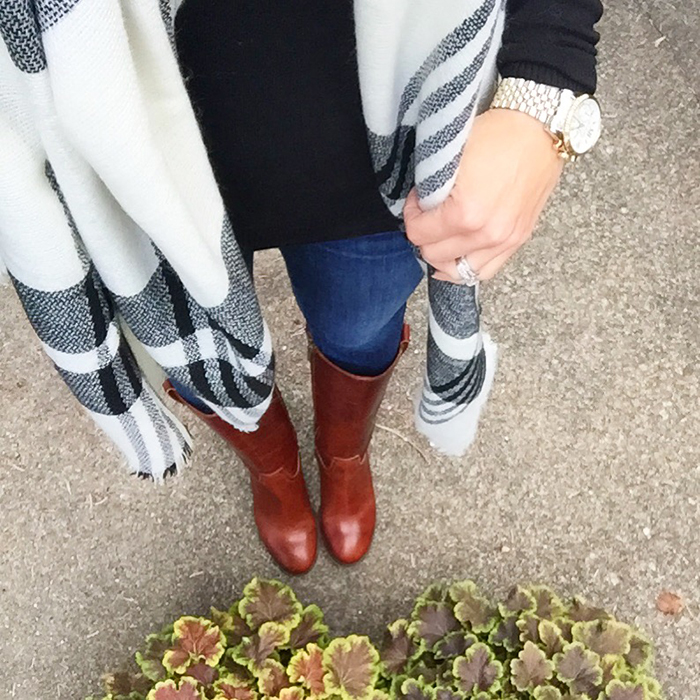 poncho, fall, trends, riding boots, plaid