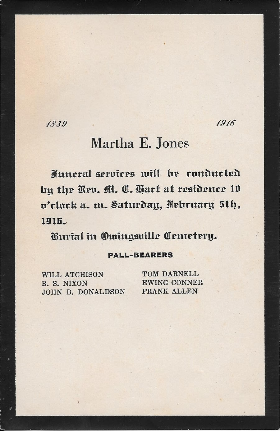 Past Funeral Notices