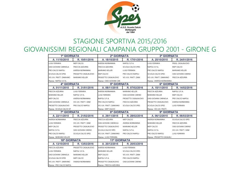 Calendario Giovanissimi Regionali.Scuola Calcio Spes Calendario Giovanissimi Regionali 2015 2016