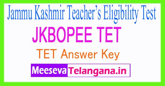 Jammu Kashmir Teacher's Eligibility Test TET Answer Key 2017 Download