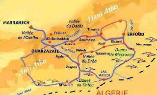 Mapa de la ruta de las 1000 kasbahs Marruecos.