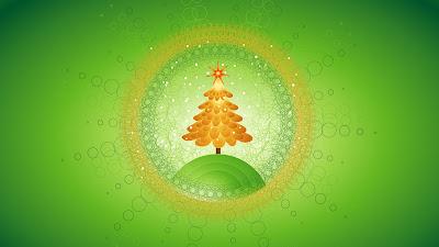 Groene wallpaper met kerstboom