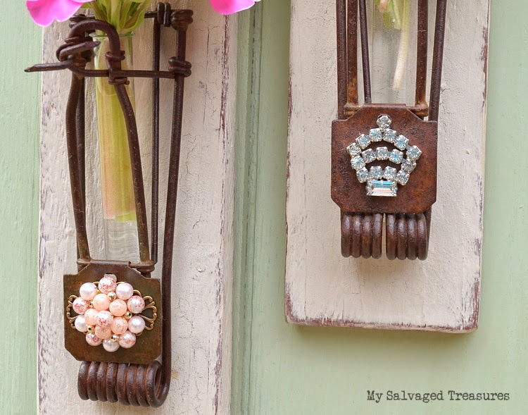 use vintage jewelry to embellish upcycled gopher traps