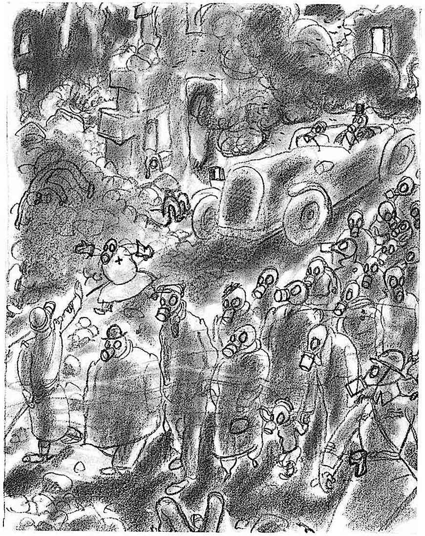 a Gus Bofa drawing of the public in gas masks calmly continuing with life