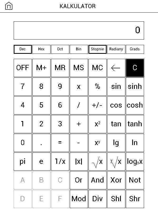 zrzut ekranu z widokiem aplikacji kalkulator na czytniku PocketBook Basic 3