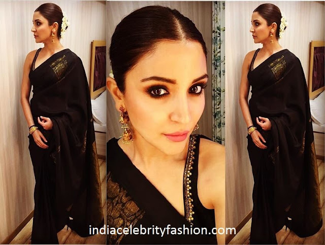 Anushka Sharma in Black Traditional Saree